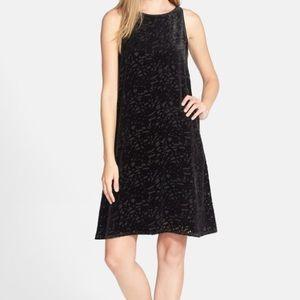 Eileen Fisher black velvety shift dress PM